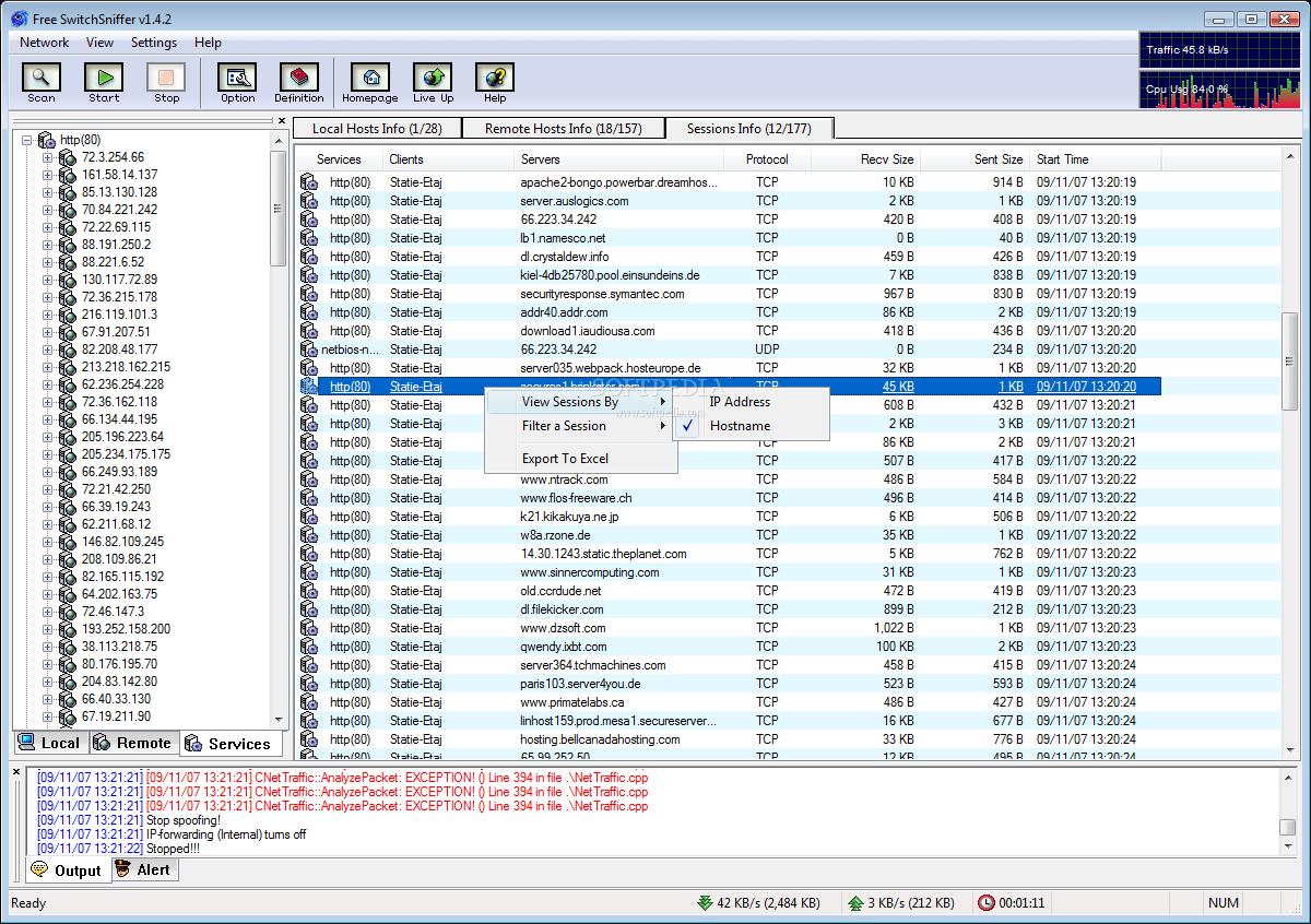 2 SwitchSniffer برنامج سحب و تقسيم سرعة النت ومعرفة استهلاك الانترنت علي الشبكة برامج نت تحميل برامج كمبيوتر